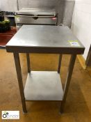 Stainless steel Preparation Table, 570mm x 500mm, with under shelf (located in Main Kitchen,