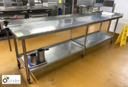 Stainless steel Preparation Table, 2750mm x 620mm, with Bonzer can opener, rear lip and under