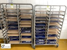 2 tubular framed 24-tray mobile Racks, including trays (located in Main Kitchen, Basement) ****
