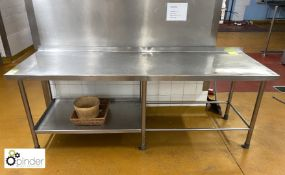 Stainless steel Preparation Table, 2290mm x 720mm, with rear lip (located in Main Kitchen, Basement)
