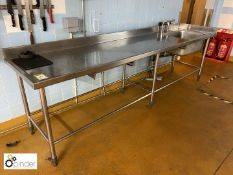 Stainless steel single bowl Sink Unit, 3050mm x 720mm (located in Main Kitchen, Basement) ****