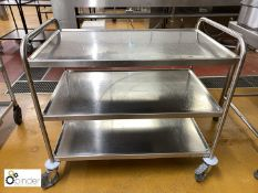Stainless steel tubular framed 3-tier Serving Trolley (located in Main Kitchen, Basement) ****