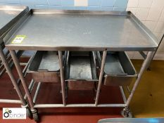 Tubular framed stainless steel top Tray Trolley, 980mm x 600mm (located in Main Kitchen,