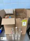 12 various refillable Water Bottles, with stoppers (located in Main Kitchen, Basement) **** please