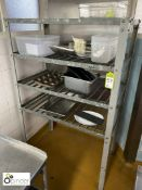 Galvanised steel 4-shelf Pan Rack and contents, including various baking trays (located in Main