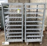 2 stainless steel 9-tray Trolleys, approx. 740mm x 620mm x 1430mm high (LOCATION: Croxton) / (please