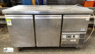 Caravell TR37 stainless steel mobile 2-door Fridge Counter, 240volts (LOCATION: Croxton) / (please