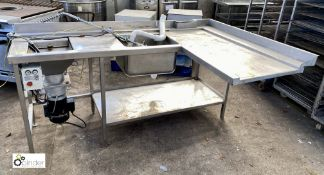 Stainless steel L-shaped wash down Sink, with in built waste disposal and wash down hose and gun (