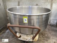 Stainless steel Mixing Bowl and Bowl Trolley, 1000mm diameter x 500mm high (LOCATION: Croxton) / (