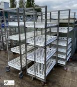 5 stainless steel 4-tray Trolleys, approx. 760mm x 520mm x 1650mm high (LOCATION: Croxton) / (please