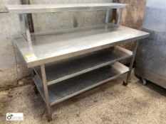 Stainless steel Preparation/Serving Counter, with 2 undershelves and serving gantry, 1500mm x