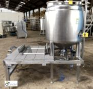 Stainless steel Steaming Vessel mounted on stand with integrated pipework, etc (LOCATION: Croxton) /