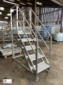 Stainless steel/checker plate 5-tread mobile Access Platform, main platform height 1350mm (LOCATION: