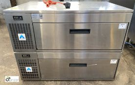 Adande stainless steel combined single drawer Freezer and single door Fridge (LOCATION: