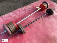 Weight Lifting Bar, with 12 various weights and Weight Lifting Bar, with 4 various weights