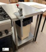 Stainless steel Preparation Table, 860mm x 600mm x 915mm, with undershelf and commercial can