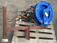 Coxreels Hose Reel, Hose and fabricated Stand (please note this lot has a lift out fee of £5 plus