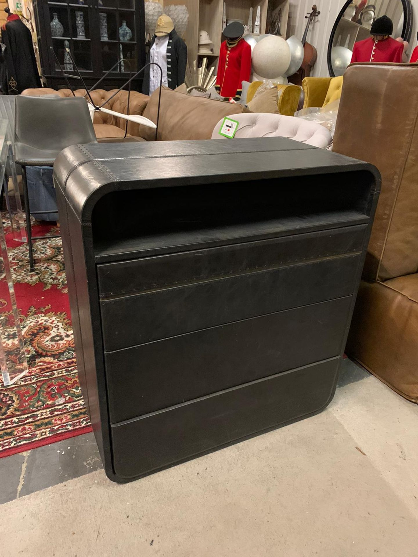 Lot 549 - Highlite Cabinet Leather 3 Drawer Inspired By The Light Streams Of Car Headlights On A Highway The
