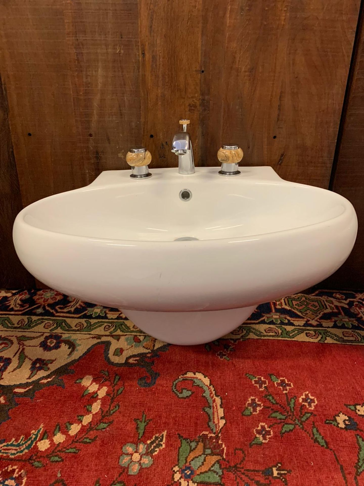 Lot 832 - Floating Handwash Basin With Polished Stone Faucet Taps By Jean-Claude Delepine In Collaboration