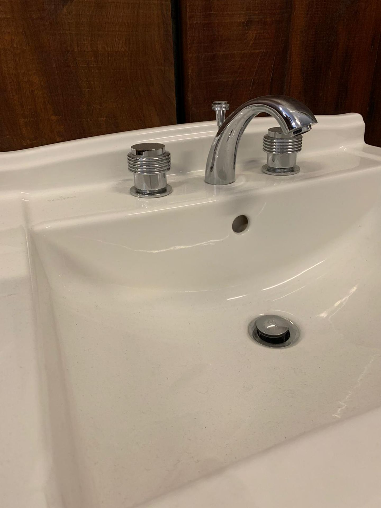 Lot 831 - Villeroy & Boch Free Standing Basin Unit With Chrome Luxury Faucet Taps By Jean-Claude Delepine In