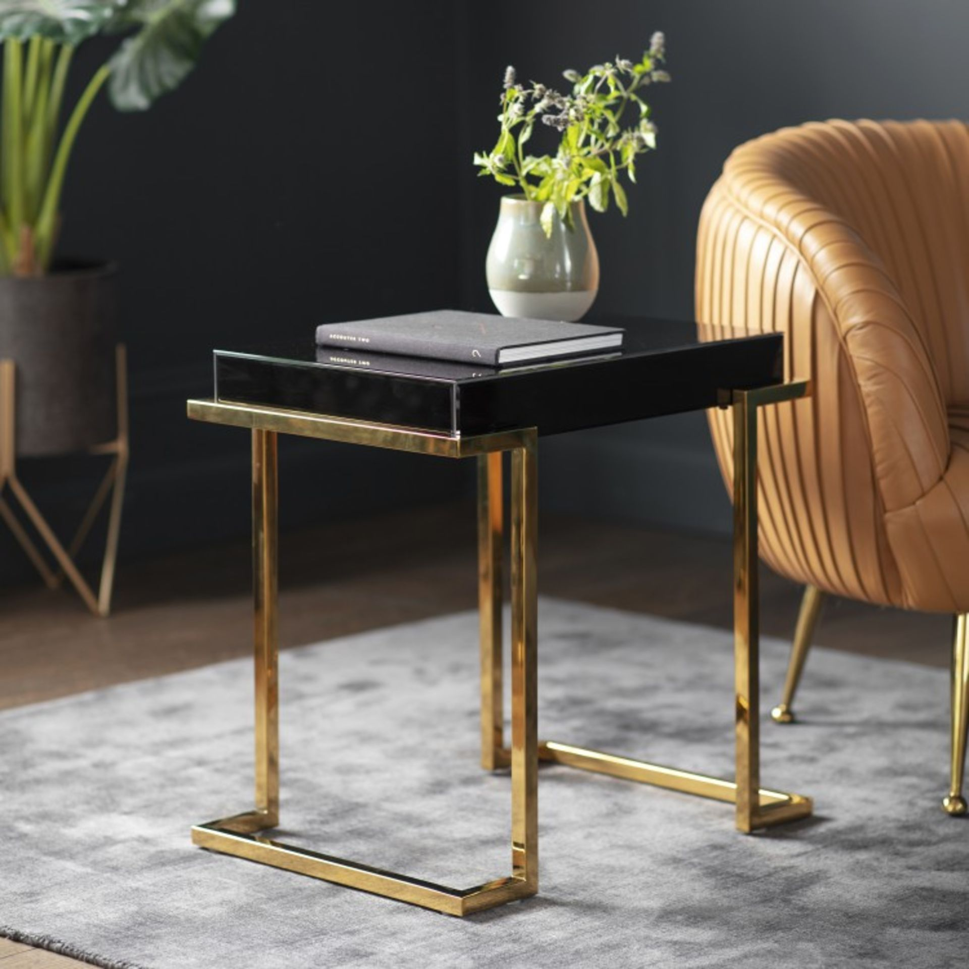 Lot 710 - Delray Black Mirrored Side Table