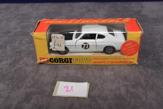 Lot 21 - Corgi Whizzwheels Diecast 303 Roger Clark's 3 Litre V6 Ford Capri Number With Very Good Box