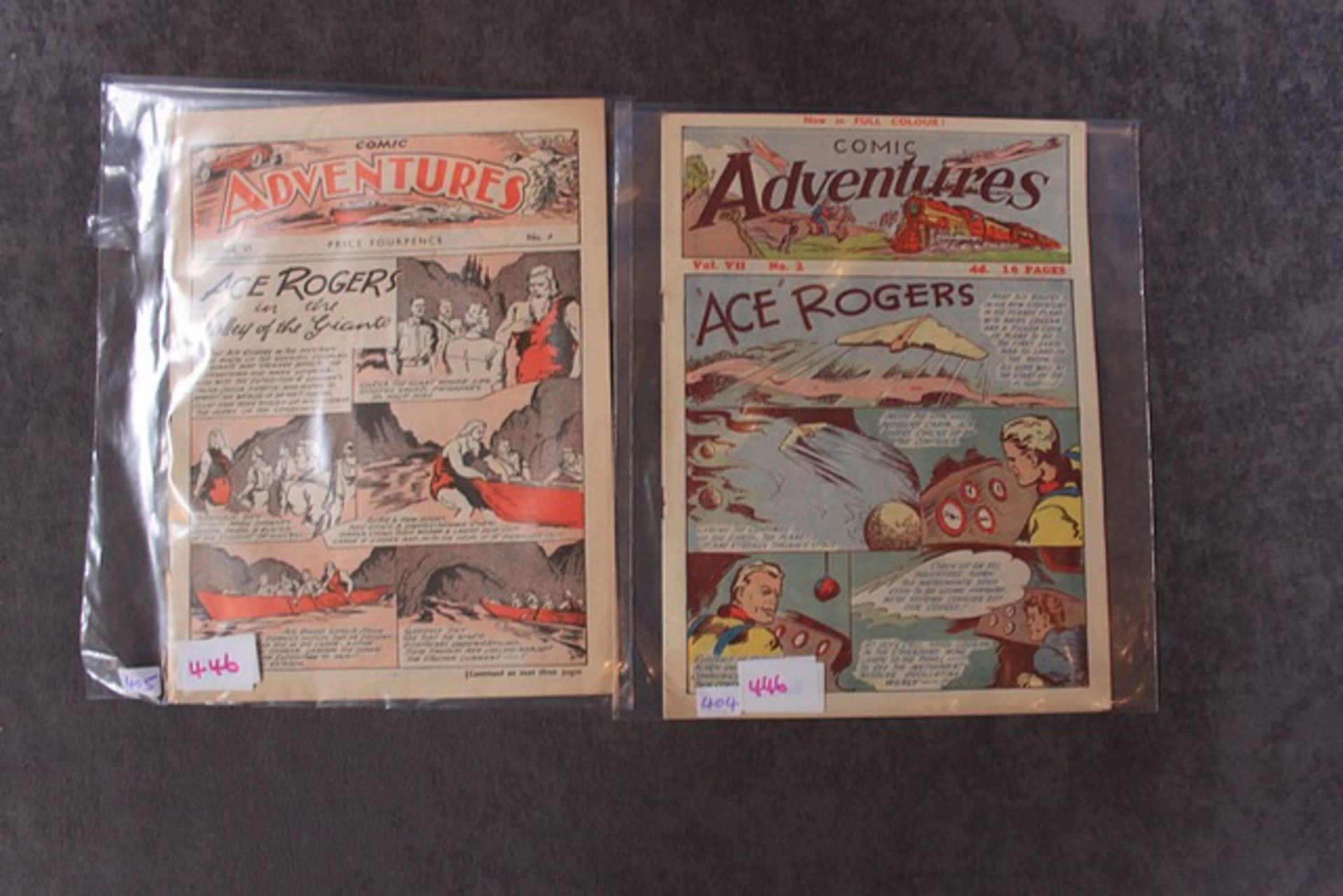 Lot 446 - 2 x comic issues Comic Adventures Soloway, 1940 Series #V2/#2 Ace Rogers and Comic Adventures