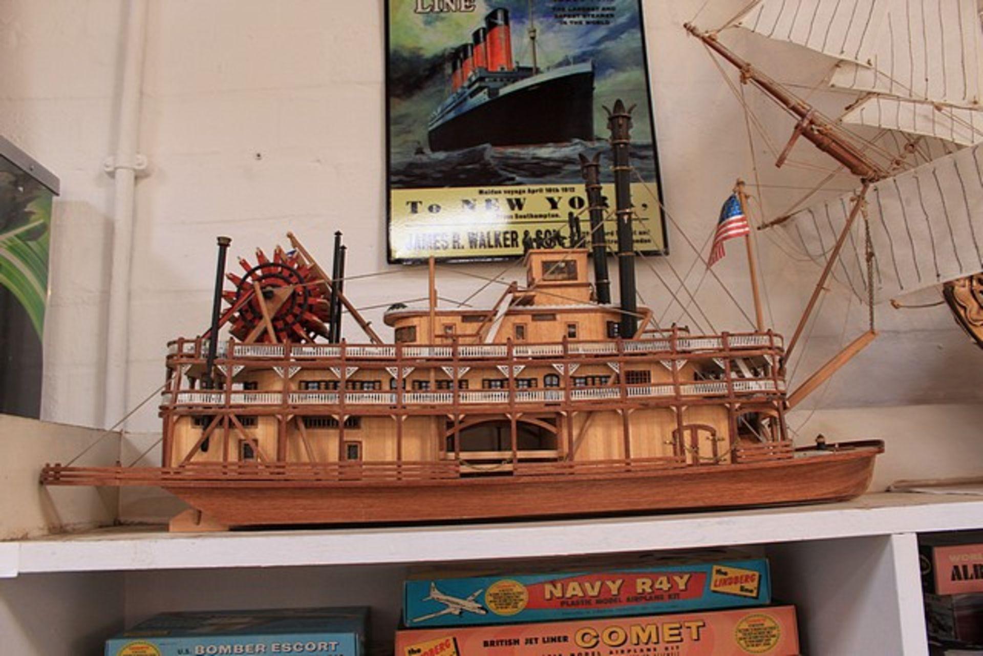 Lot 147 - Museum Quality Craftsman Built Artesania Latina 020505- Detailed Wooden Paddle Steam Ship