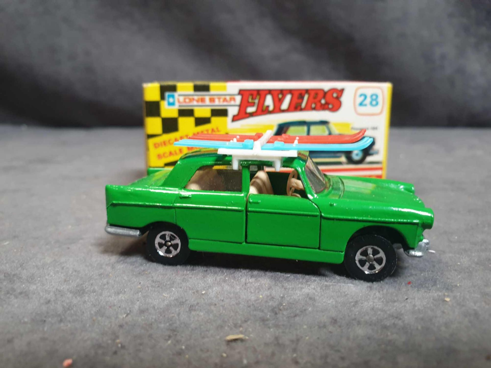Mint Lone Star Flyers #28 Peugeot 404 Green With Skis Diecast Vehicle With Box - Image 3 of 3