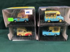 4x Oxford Ice Cream Vans Diecast Models All On Display Boxes, Comprising Of; #HA003 Walls Bedford HA