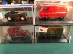 4x Oxford Diecast Models All On Display Boxes, Comprising Of; #LAN180002 Land Rover 80 Inch Bronze