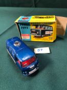 Very Good Corgi Toys Diecast 464, Police Van With Flashing Light In Ok Box (One And Flap Missing And