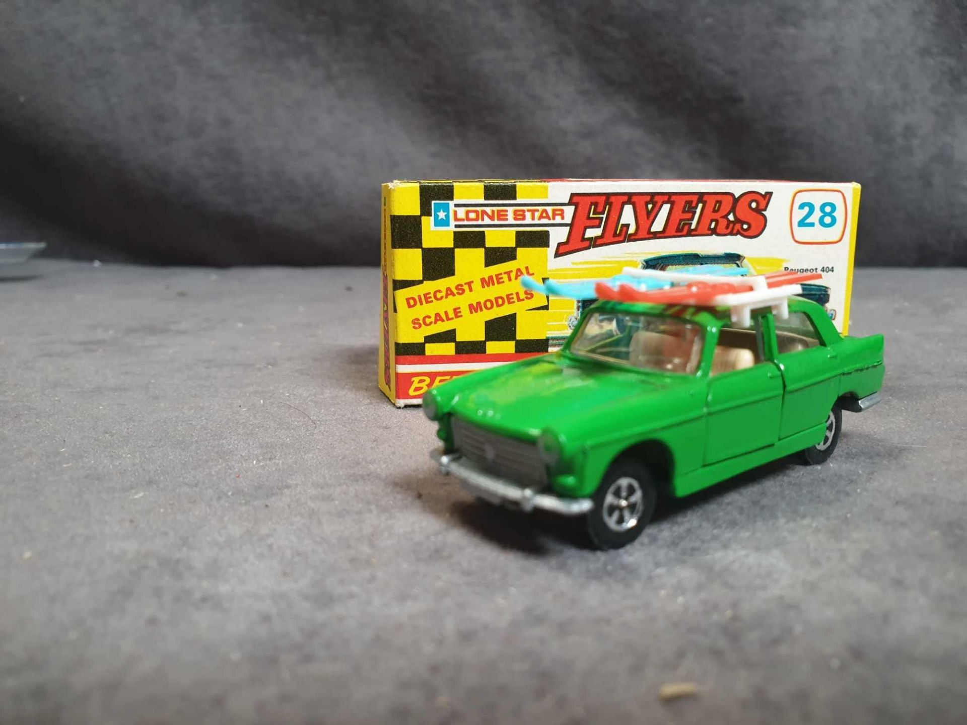 Mint Lone Star Flyers #28 Peugeot 404 Green With Skis Diecast Vehicle With Box - Image 2 of 3