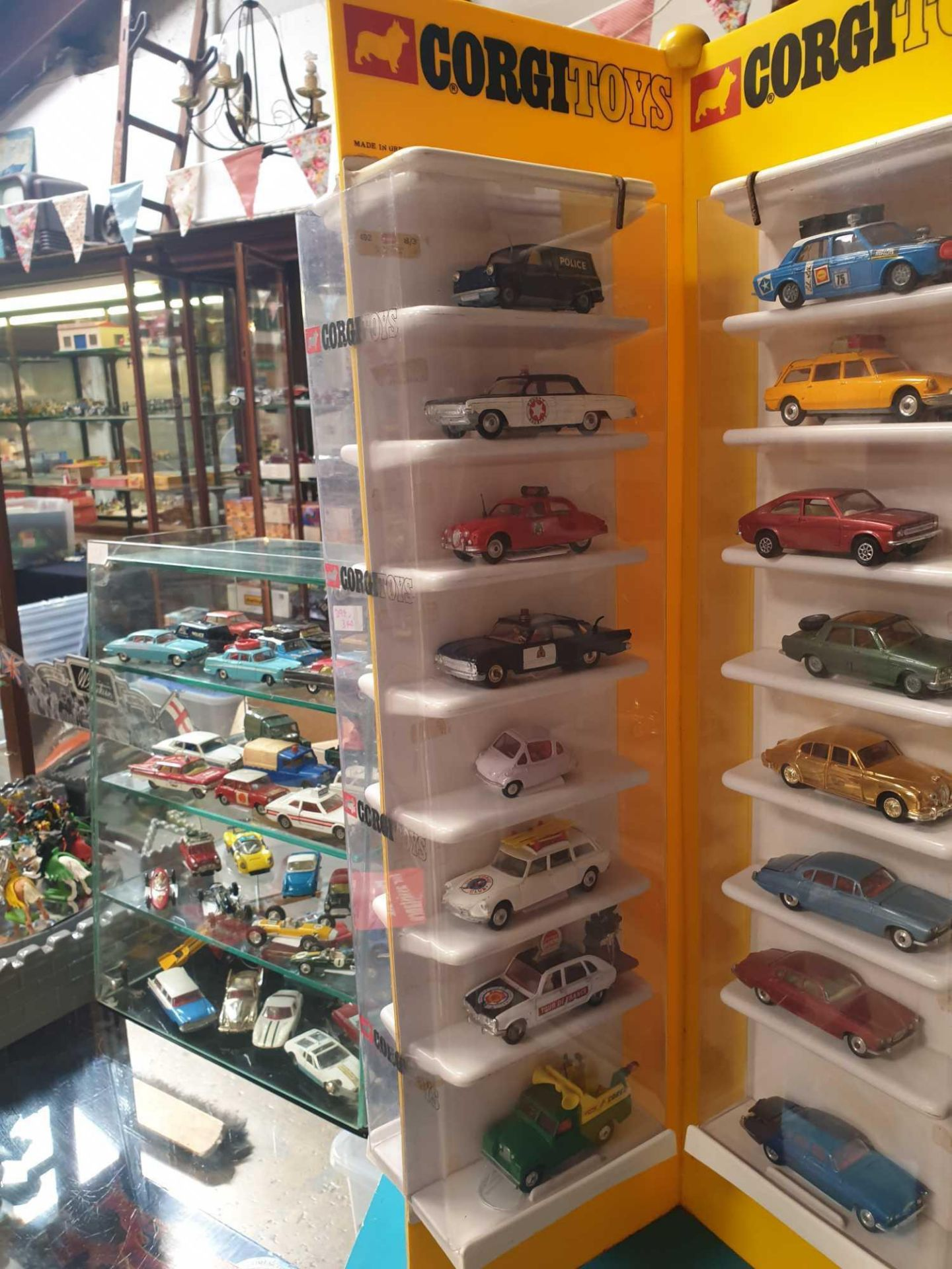 Lot 1220 - **WOW** Corgi Diecast Display Stand With 64 Individual Diecast Car Models -  356 VW US Personell