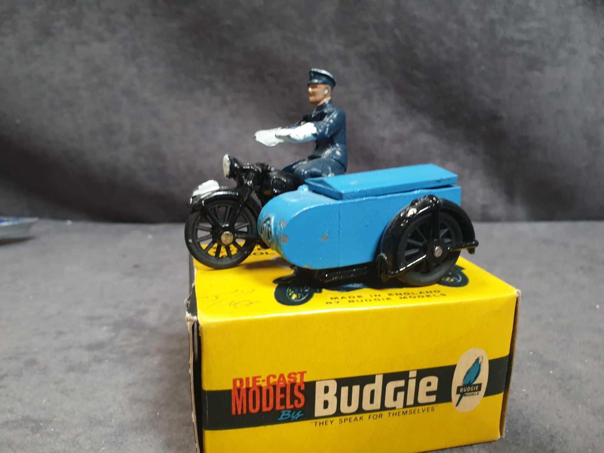 Virtually Mint Budgie Toys England #454 RAC Motorcycle Patrol Diecast;In Excellent Firm Box (Tiny