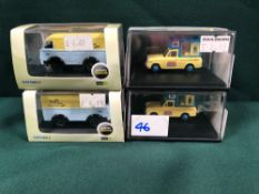 4x Oxford 1/76 Railway Scale Ice Cream Vans Diecast Models All On Display Boxes, Comprising Of;