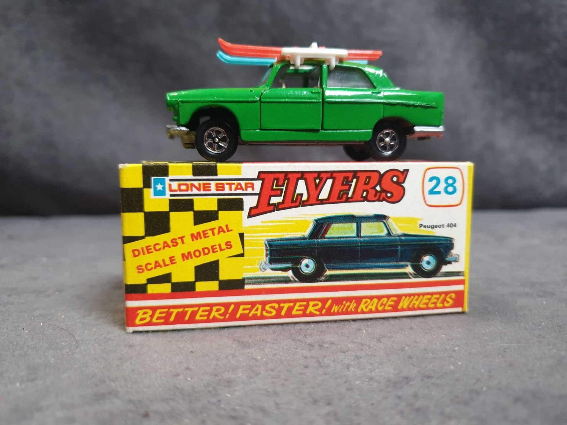Mint Lone Star Flyers #28 Peugeot 404 Green With Skis Diecast Vehicle With Box
