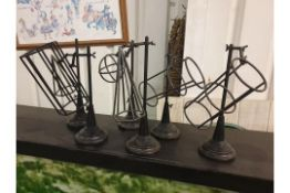 3 x Geometric Euclid Shapes The Father Of Geometry Geometric Decorative Metal Iron Sculptures 33cm