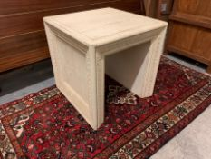A pair of Timothy Oulton Portrait Oak Carved Side Table The Portrait Side Table Made From Solid 100%