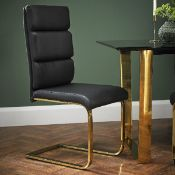 A Pair of dining chairs gold frame black pad A beautiful statement for your dining room this Pair Of