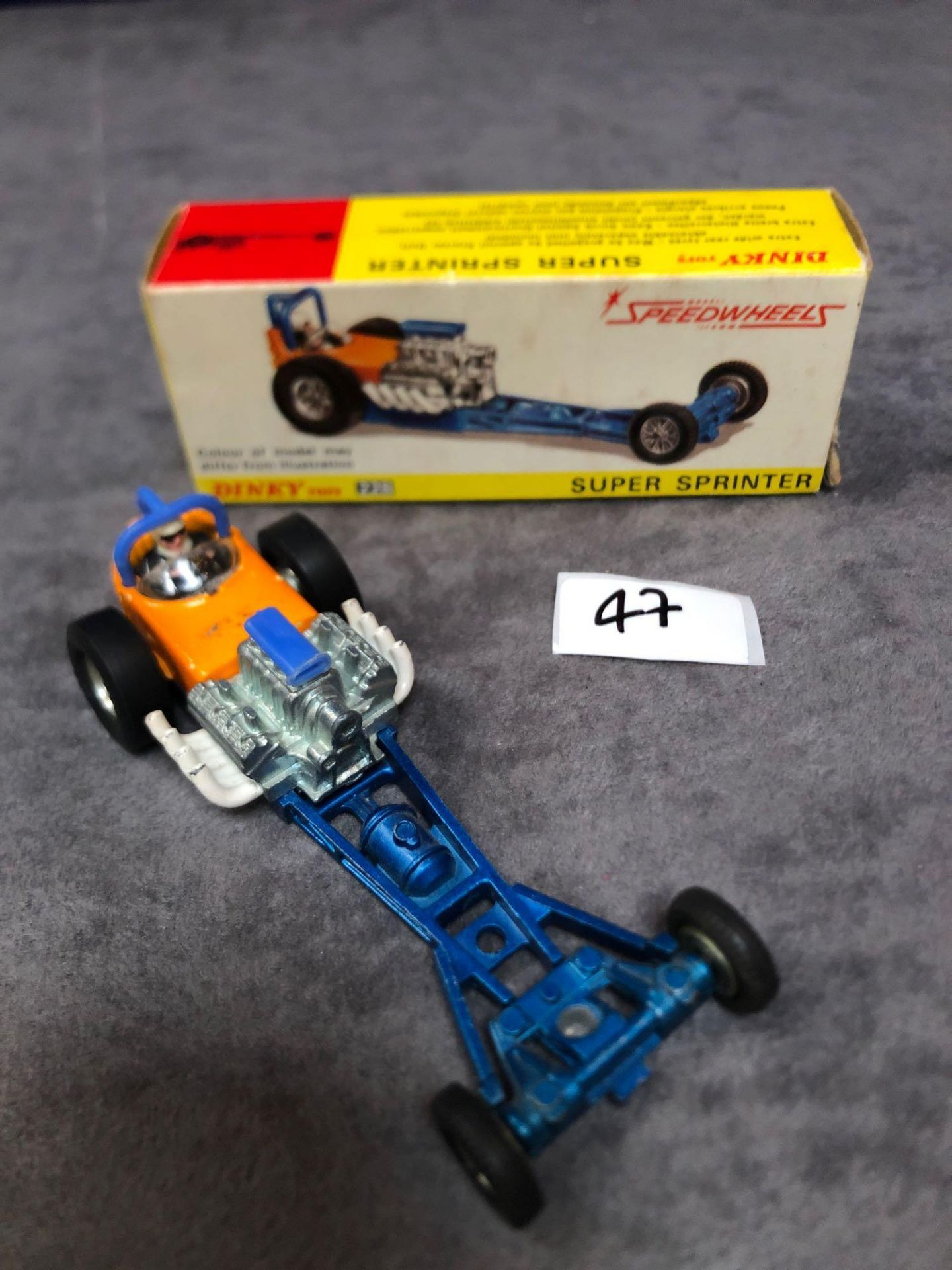 Dinky #228 Super Sprinter Blue And Orange - Exposed Engine And Speed Wheels. Very god model in a