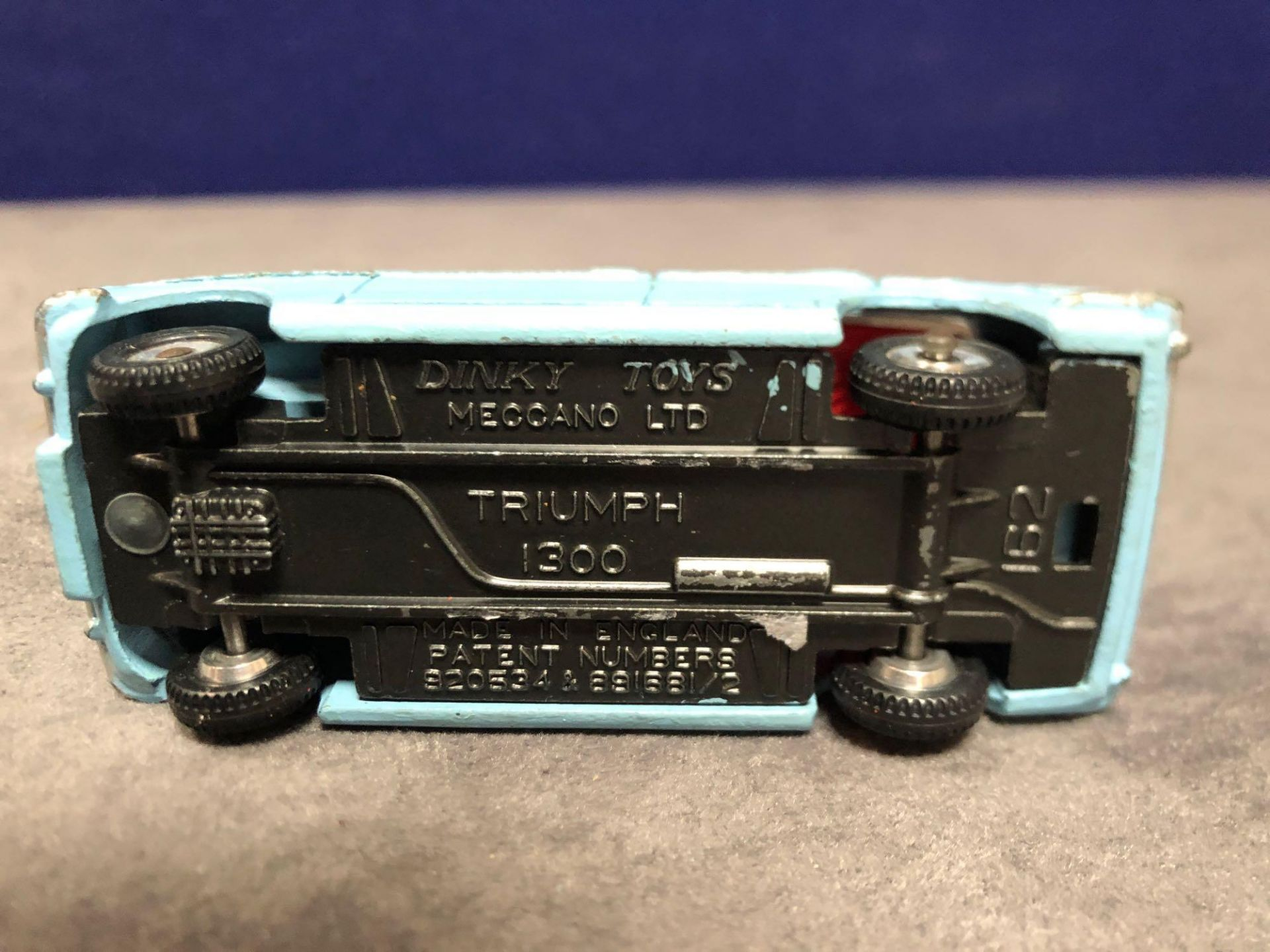 Dinky #162 Triumph 1300 Blue - Red Interior, Spun Hubs And Number Plates 1966 - 1969 Unboxed very - Image 4 of 4