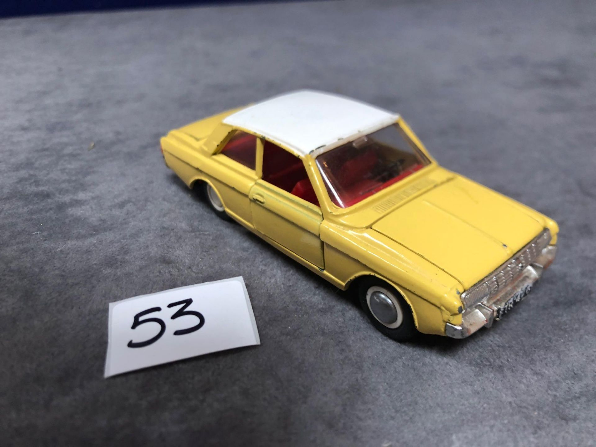 Dinky #154 Ford Taunus 17m Yellow/White - Red Interior 1966 - 1969 Unboxed very good condition