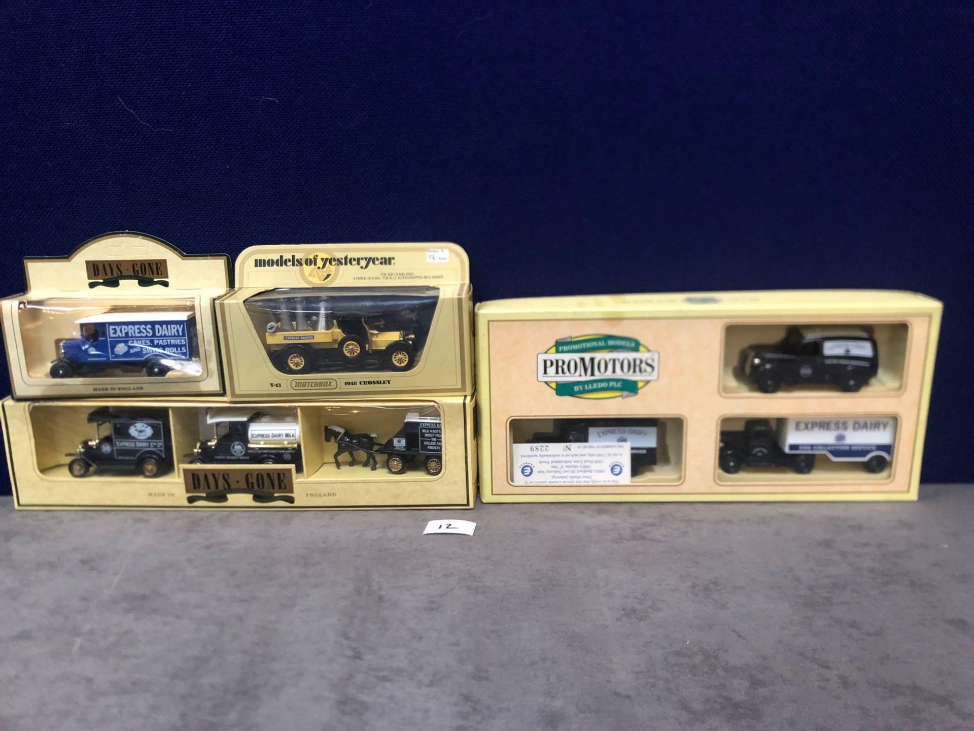 2x Lledo Diecast Express Dairy Sets And 2x Lledo Diecast Express Dairy Vehicles, Each One Boxed.
