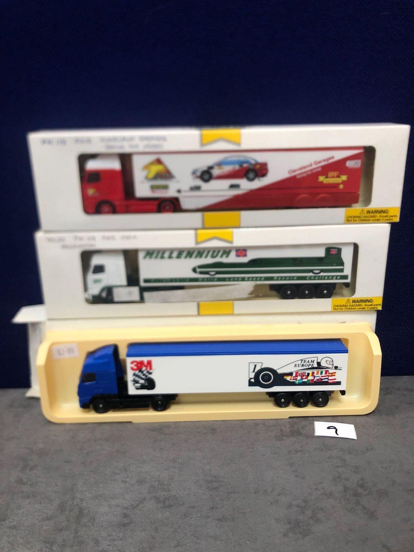3x Lledo Pro Mover Diecast Trucks Comprising Of; 3M Team Europe, Millennium Automotive World Land