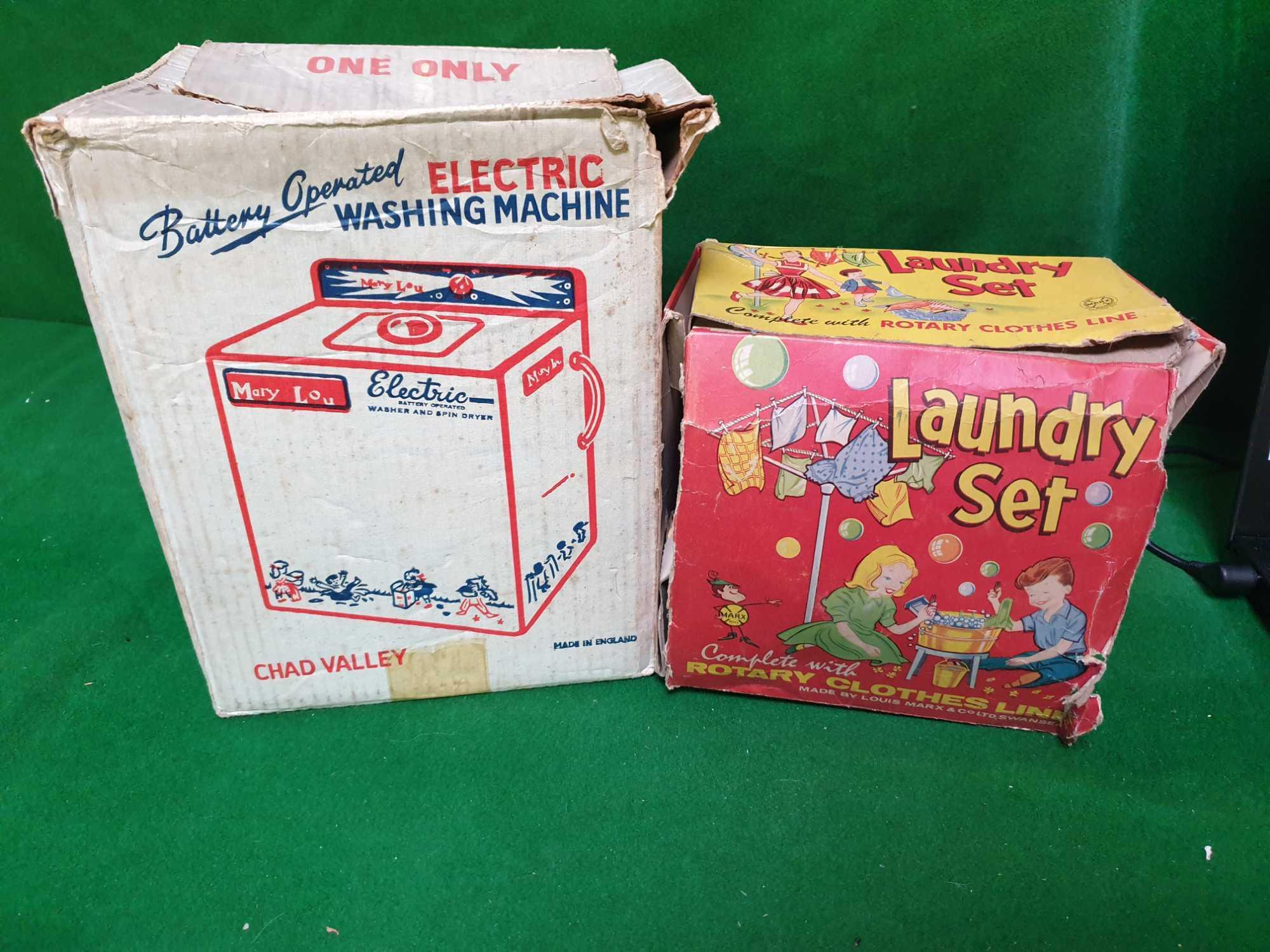 2 X Domestic Toys Comprising Of Chad Valley Mary Lou Electric Vintage Metal Toy Washing Machine With