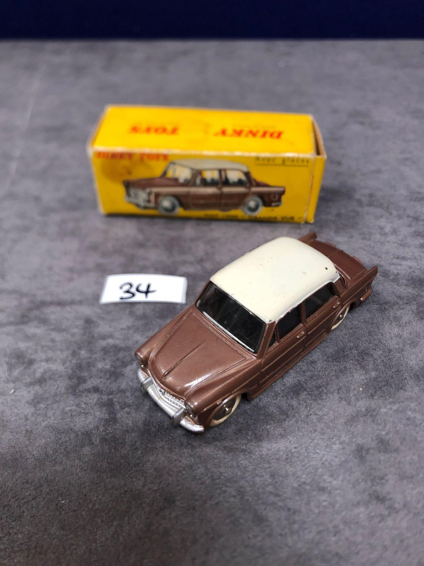 Dinky (France) Diecast #531 Fiat 1200 Grand Vue Brown/Cream - Silver Detailing. In Brown With A