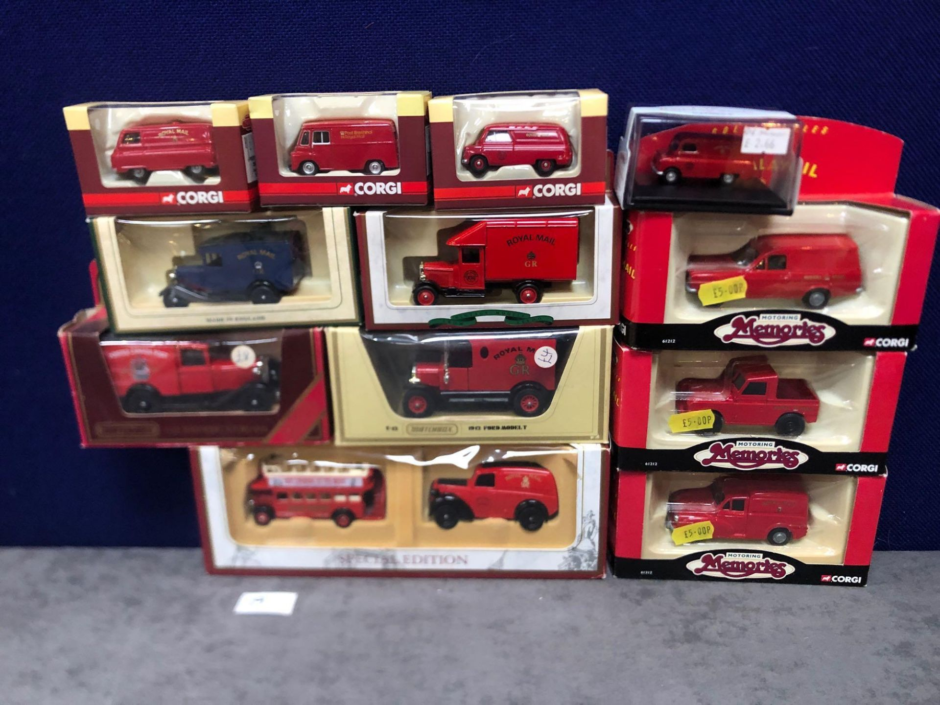 11x Diecast Individual Royal Mail Vehicles And 1x Set All In Boxes