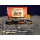 Jouet De Paris (France) Vintage Tin Plate Clockwork Train Set With Station Lights And Signals With