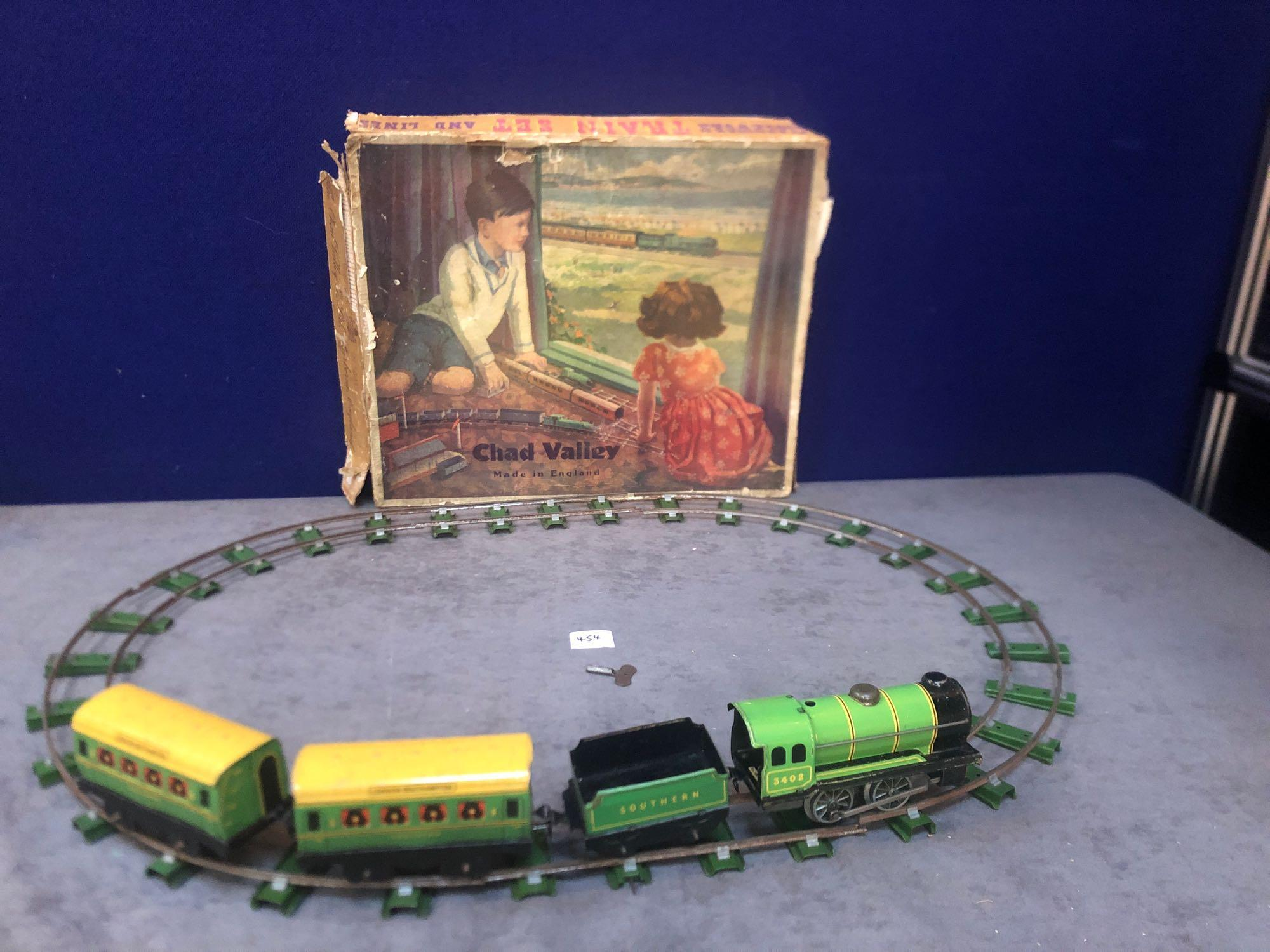 Chad Valley Vintage Clockwork Train Set And Lines In Original Box Circa 1930s